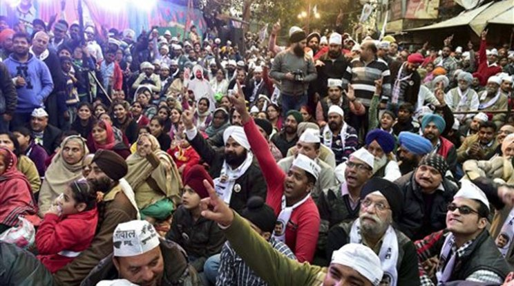 file image of AAP public meeting in Delhi during  Assembly Elections this year.
