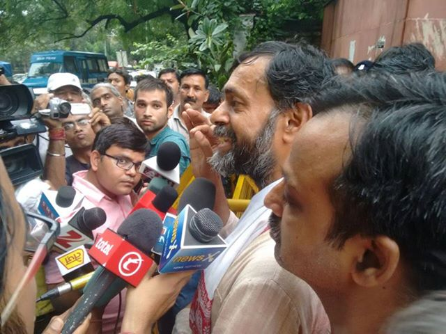 Out side Mandir Marg Police Station. Yogender Yadav Pankaj Pushkar with media.  After release by the judges.