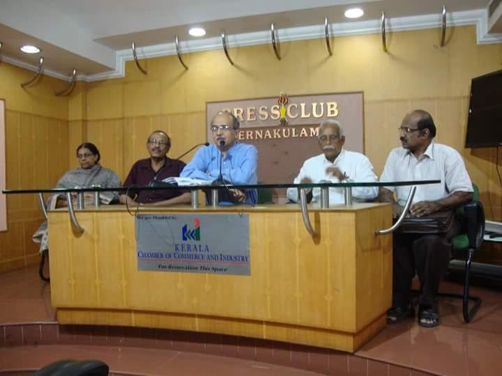 Prashant Bhushan addressing Media today in Kochi. Swaraj Abhiyan volunteers meet its leader PB.